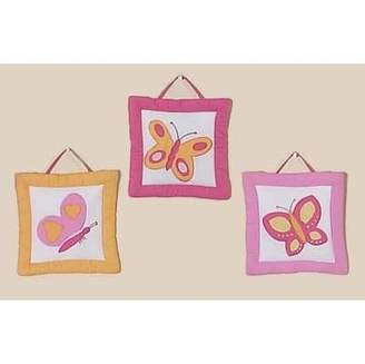 JoJo Designs Pink and Orange Butterfly Collection Wall Art Hangings by Sweet