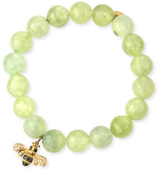 Sydney Evan Faceted Prehnite Beaded Bracelet with Diamond Bee Charm