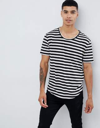 Asos DESIGN relaxed striped t-shirt with raw scoop neck and curved hem