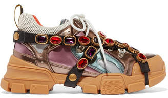 Gucci Flashtrek Embellished Logo-embossed Metallic Leather And Mesh Sneakers