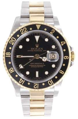 Rolex GMT-Master II 16713 18K Yellow Gold & Stainless Steel Black Dial 40mm Mens Watch