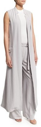 DKNY Long Crepe Trench Vest, Cement $495 thestylecure.com