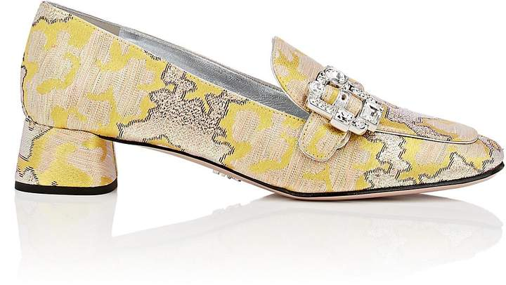 Prada Women's Jeweled-Buckle Jacquard Pumps