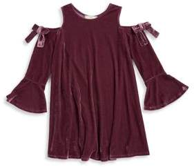 Soprano Girl's Ribbon Velvet Bell Sleeve Top
