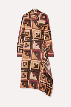 Rosetta Getty Printed Silk-twill Midi Dress