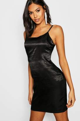 boohoo Tall Hammered Satin Cami Dress