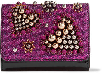 Christian Louboutin  Christian Louboutin - Macaron Mini Embellished Metallic Raffia And Patent-leather Wallet - Magenta