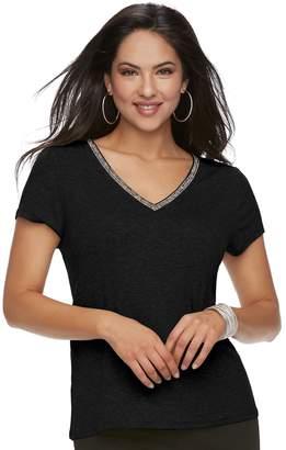 JLO by Jennifer Lopez Women's Embellished V-Neck Tee