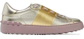 Valentino Studded Two-Tone Metallic Leather Sneakers