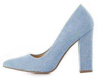 Denim Pointed Toe Block Heel Pumps $32.99 thestylecure.com