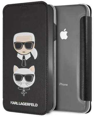 Karl Lagerfeld Black PU Embossed Booktype iPhone XS Max Case