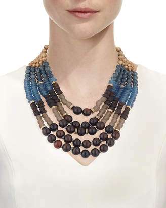 Neiman Marcus Akola Five-Strand Beaded Necklace, Blue/Brown