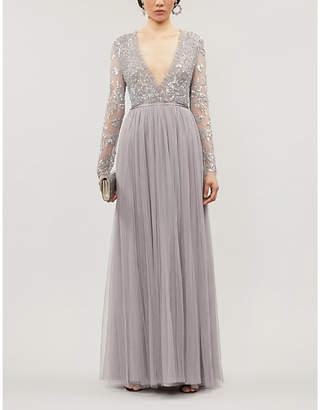 Selfridges Needle And Thread Ava V-neck sequin-embellished tulle maxi dress