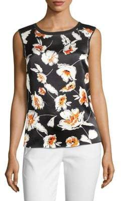 St. John Printed Silk Front Top