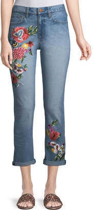 Alice + Olivia AO.LA by Alice+Olivia Amazing Floral-Embroidered High-Rise Straight-Leg Jeans