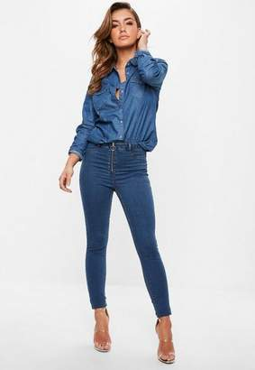 Missguided Blue High Waisted Ring Pull Jeggings