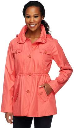 Dennis Basso Water Resistant Floral Lined Anorak Jacket with Hood