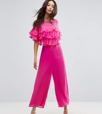 Asos Tall Ruffle Jumpsuit With Culotte Leg