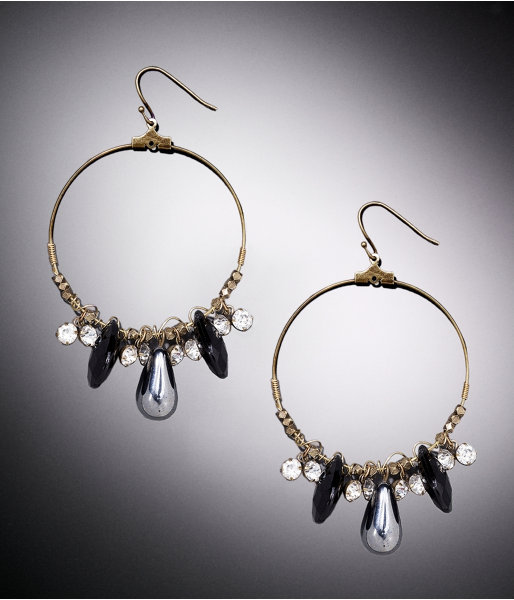 Beaded Drop Hoop Earrings
