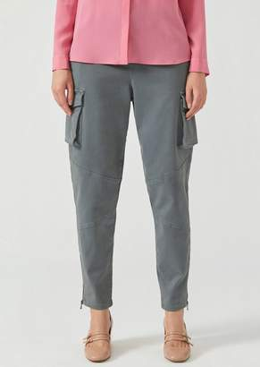 Emporio Armani Cotton Drill Trousers With Cargo Pockets And Hem Zips