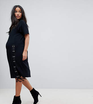 Asos Midi T-Shirt Dress With Lace Up