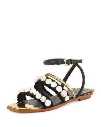 Tory Burch Sinclair Seashell Ankle-Wrap Sandal, Black $325 thestylecure.com