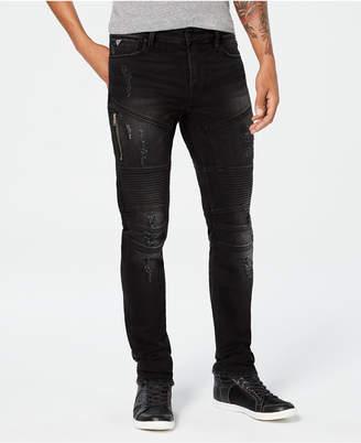 GUESS Men Slim-Fit Black Tapered Moto Jeans