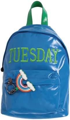 Alberta Ferretti Azure Girl Backpack With Green Writing