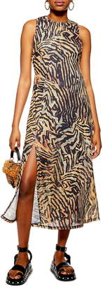 Topshop Tiger Print Sleeveless Mesh Midi Dress