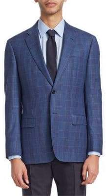 Emporio Armani Men's Plaid Wool Jacket - Blue Grey - Size 56 (46) L