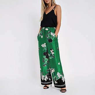 River Island Petite green floral wide leg pants