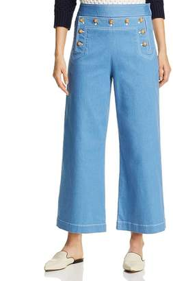 Tory Burch Cropped Sailor Jeans in Rinse