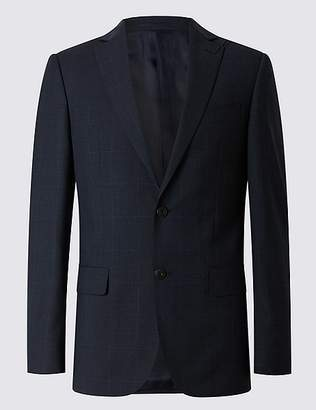 Marks and Spencer Navy Checked Tailored Fit Wool Jacket