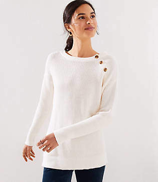 LOFT Marled Shoulder Button Sweater