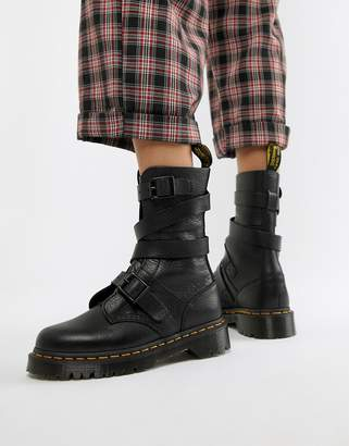 Dr. Martens Bevan Black Leather Strappy Chunky Flat Ankle Boots