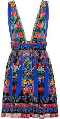 Camilla - Chinese Whispers Embellished Printed Silk Crepe De Chine Mini Dress - Bright blue $450 thestylecure.com