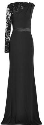 Alexander McQueen Lace-trimmed Crepe Gown - Black