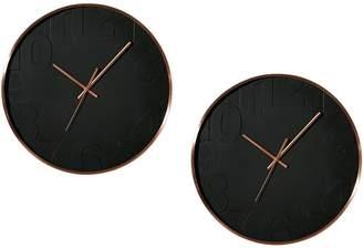 Amalfi by Rangoni Balaclava Metal Frame Wall Clock, Black, 40cm (Set of 2)