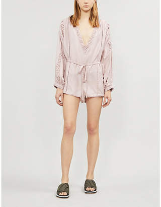 Free People I Mean It lace-trim jersey playsuit