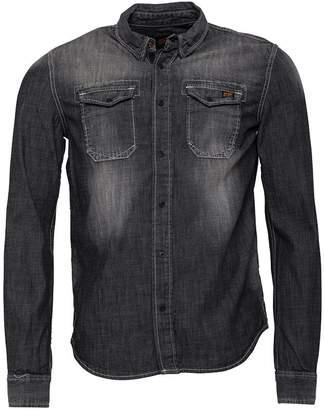 Superdry Mens Dragway Denim Long Sleeve Shirt Tarmac Vintage