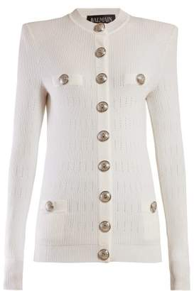 Balmain Buttoned Ribbed Knit Cardigan - Womens - White