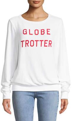 Wildfox Couture Globe Trotter Graphic Crewneck Sweatshirt