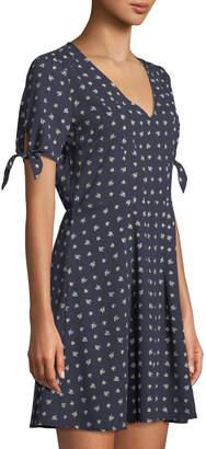 19 Cooper Floral-Print Tie-Sleeve Sundress, Navy