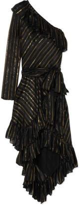 Philosophy di Lorenzo Serafini One-shoulder Metallic Striped Silk-blend Dress - Black