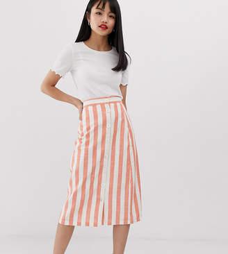 Glamorous Petite button front midi skirt in natural stripe