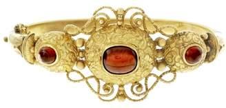 14K Yellow Gold Garnet Cabochon Vintage Bangle Bracelet