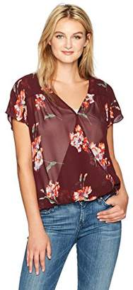 Lucky Brand Women's Exploded Floral Wrap Drop Shoulder Top