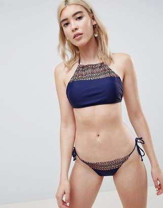 Pieces Geo-Tribal Print Side Tie Bikini Bottom