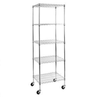 Seville Classics 5-Tier UltraZinc NSF Steel Wire Shelving with Wheels