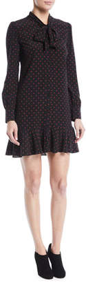 Veronica Beard Linley Tie-Neck Long-Sleeve Dot-Print Silk Dress